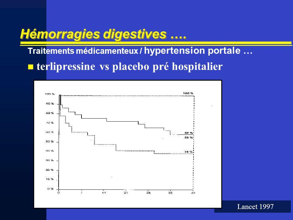 Hémorragies digestives …. Traitements médicamenteux / hypertension portale … terlipressine vs placebo pré hospitalier Lancet 1997