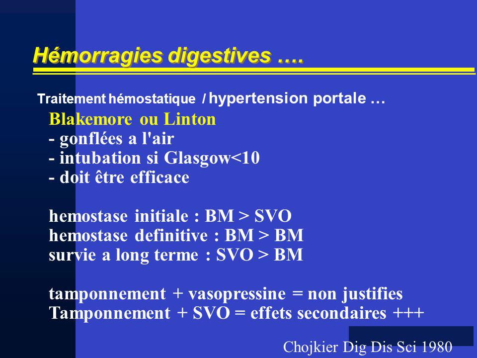 Hémorragies digestives …. Traitement hémostatique / hypertension portale … Blakemore ou Linton - gonflées a l'air - intubation si Glasgow<10 - doit êt