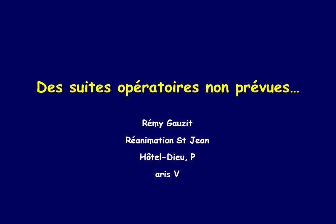 Des suites opératoires non prévues… Rémy Gauzit Réanimation St Jean Hôtel-Dieu, P aris V
