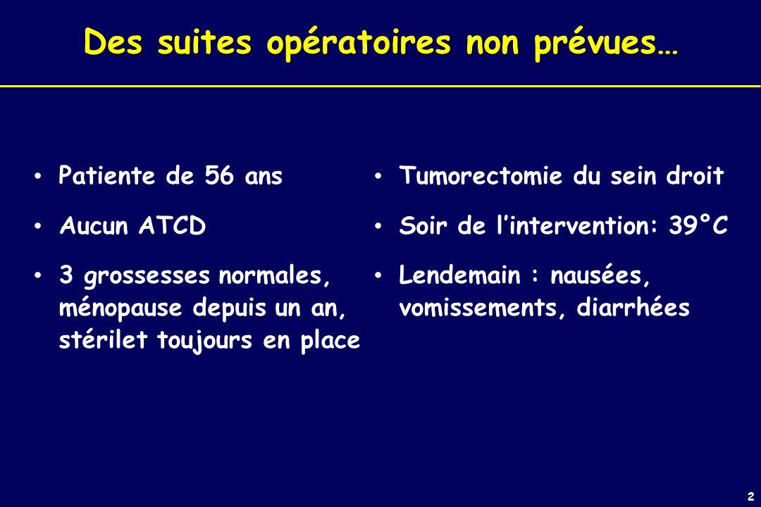2 Des suites opératoires non prévues… Patiente de 56 ans Aucun ATCD 3 grossesses normales, ménopause depuis un an, stérilet toujours en place Tumorectomie du sein droit Soir de lintervention: 39°C Lendemain : nausées, vomissements, diarrhées