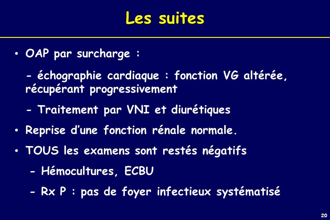 20 Les suites OAP par surcharge : - échographie cardiaque : fonction VG altérée, récupérant progressivement - Traitement par VNI et diurétiques Reprise dune fonction rénale normale.