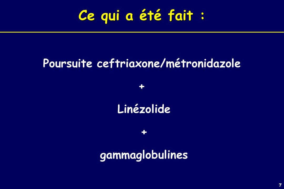 7 Ce qui a été fait : Poursuite ceftriaxone/métronidazole + Linézolide + gammaglobulines