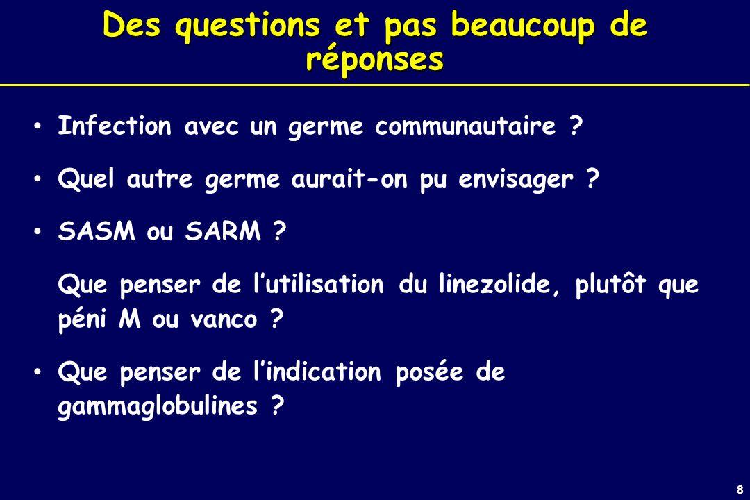 8 Des questions et pas beaucoup de réponses Infection avec un germe communautaire .