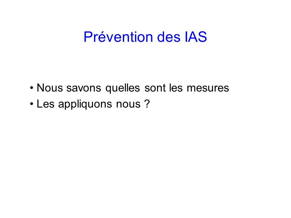Prévention des IAS Nous savons quelles sont les mesures Les appliquons nous ?