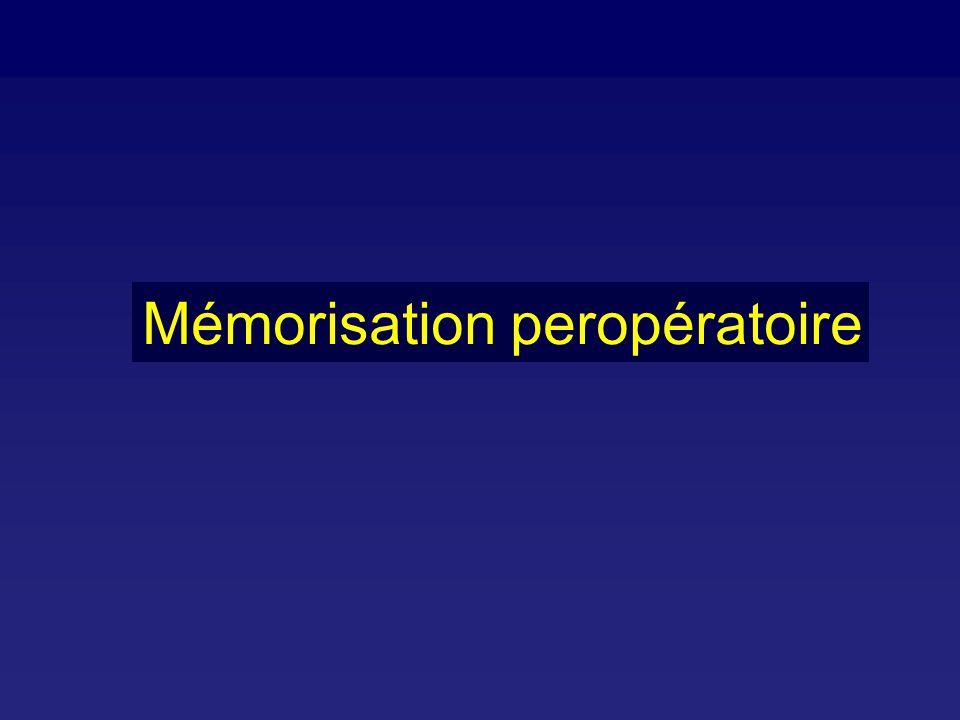 > 15000 cas pour études > 10000 moniteurs de BIS > 275 millions d anesthésies réalisées avec un BIS 63 cas de mémorisations explicites (généralement BIS > 60) 1/1/01 Rosow C and Manberg PJ.