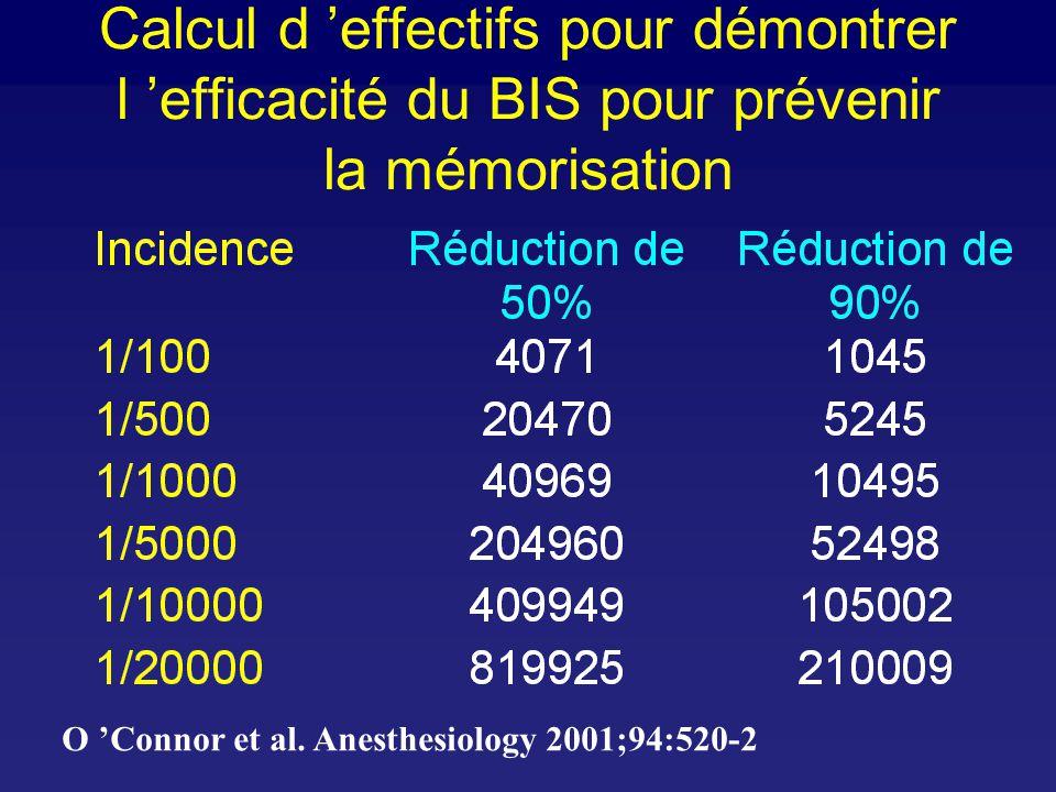 Calcul d effectifs pour démontrer l efficacité du BIS pour prévenir la mémorisation O Connor et al.
