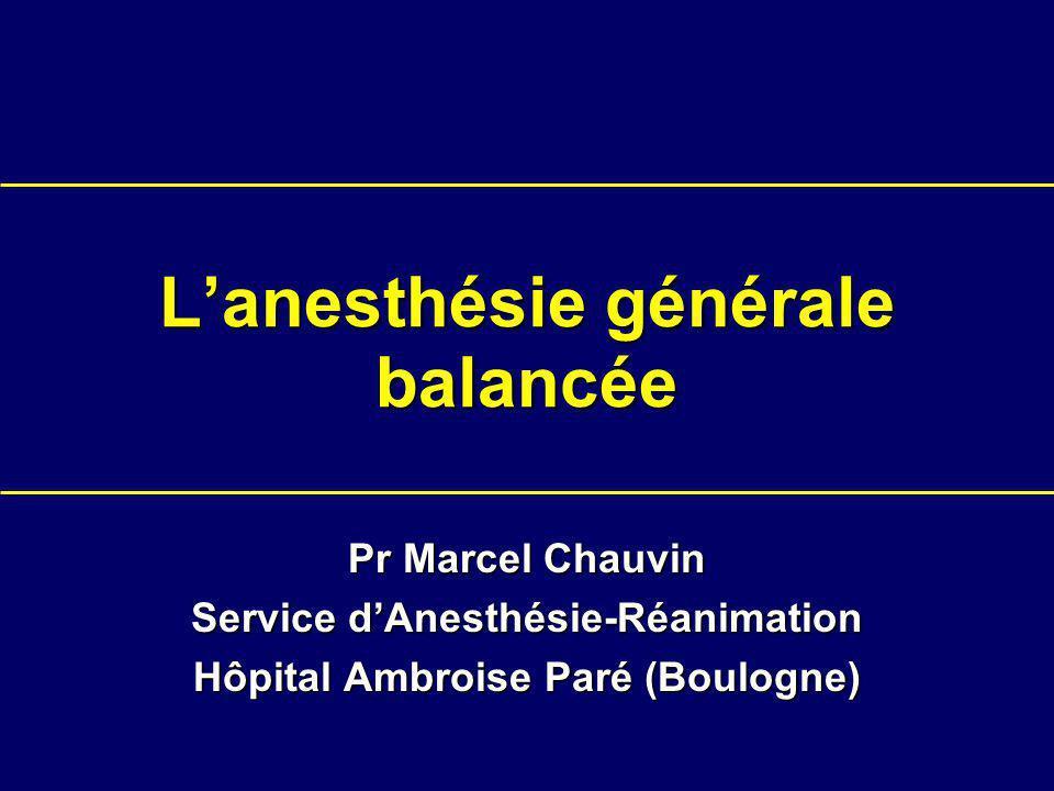 Lanesthésie générale balancée Pr Marcel Chauvin Service dAnesthésie-Réanimation Hôpital Ambroise Paré (Boulogne)