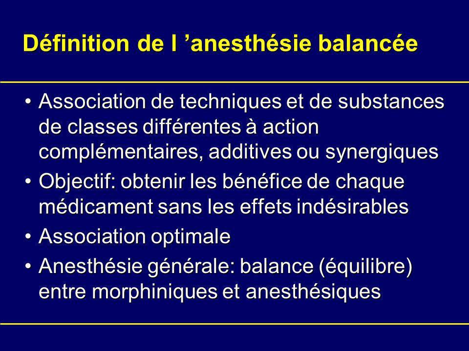 Définition de l anesthésie balancée Association de techniques et de substances de classes différentes à action complémentaires, additives ou synergiquesAssociation de techniques et de substances de classes différentes à action complémentaires, additives ou synergiques Objectif: obtenir les bénéfice de chaque médicament sans les effets indésirablesObjectif: obtenir les bénéfice de chaque médicament sans les effets indésirables Association optimaleAssociation optimale Anesthésie générale: balance (équilibre) entre morphiniques et anesthésiquesAnesthésie générale: balance (équilibre) entre morphiniques et anesthésiques