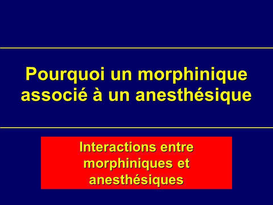 Pourquoi un morphinique associé à un anesthésique Interactions entre morphiniques et anesthésiques