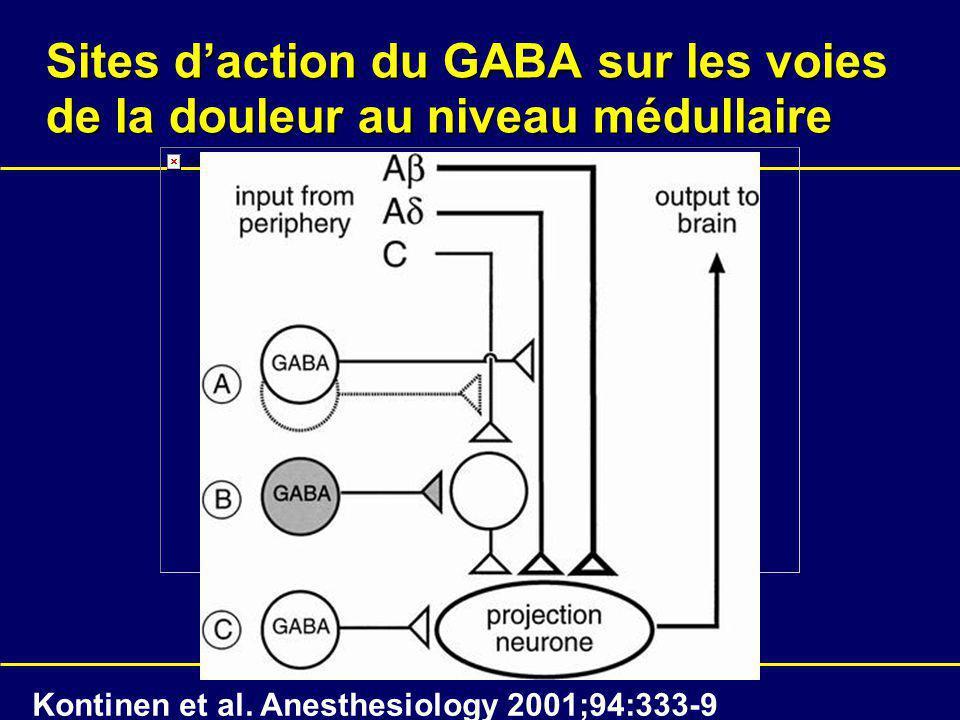 Sites daction du GABA sur les voies de la douleur au niveau médullaire Kontinen et al. Anesthesiology 2001;94:333-9