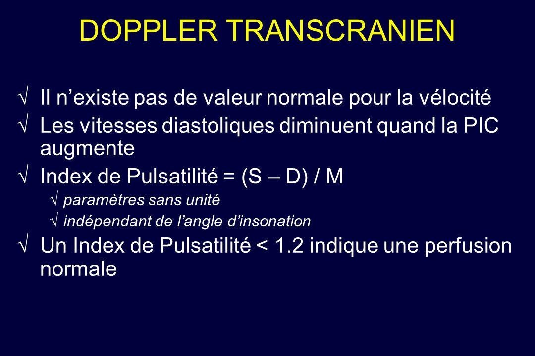 DOPPLER TRANSCRANIEN Il nexiste pas de valeur normale pour la vélocité Les vitesses diastoliques diminuent quand la PIC augmente Index de Pulsatilité