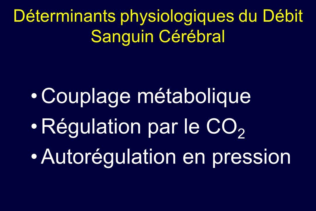 Couplage métabolique Régulation par le CO 2 Autorégulation en pression Déterminants physiologiques du Débit Sanguin Cérébral
