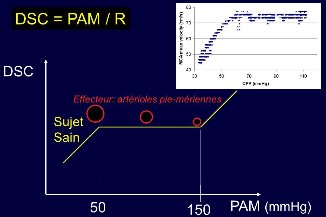 DSC PAM (mmHg) 50 150 DSC = PAM / R Sujet Sain Effecteur: artérioles pie-mériennes