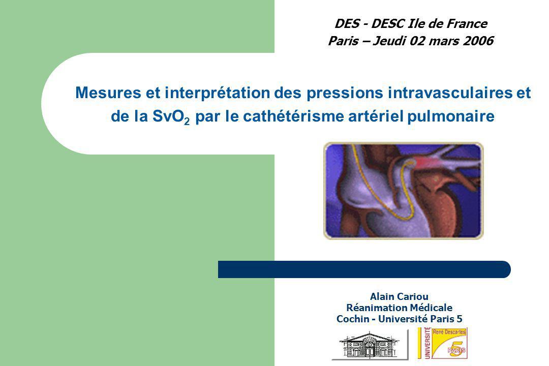 DES - DESC Ile de France Paris – Jeudi 02 mars 2006 Alain Cariou Réanimation Médicale Cochin - Université Paris 5 Mesures et interprétation des pressi