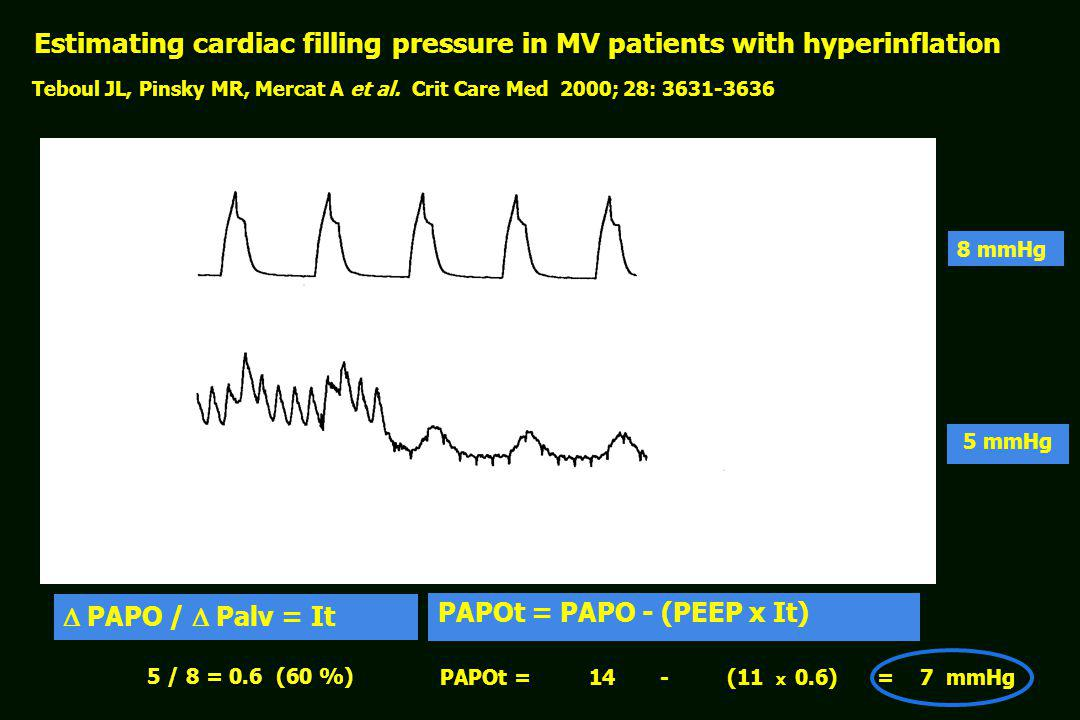 Estimating cardiac filling pressure in MV patients with hyperinflation Teboul JL, Pinsky MR, Mercat A et al. Crit Care Med 2000; 28: 3631-3636 Palv PA