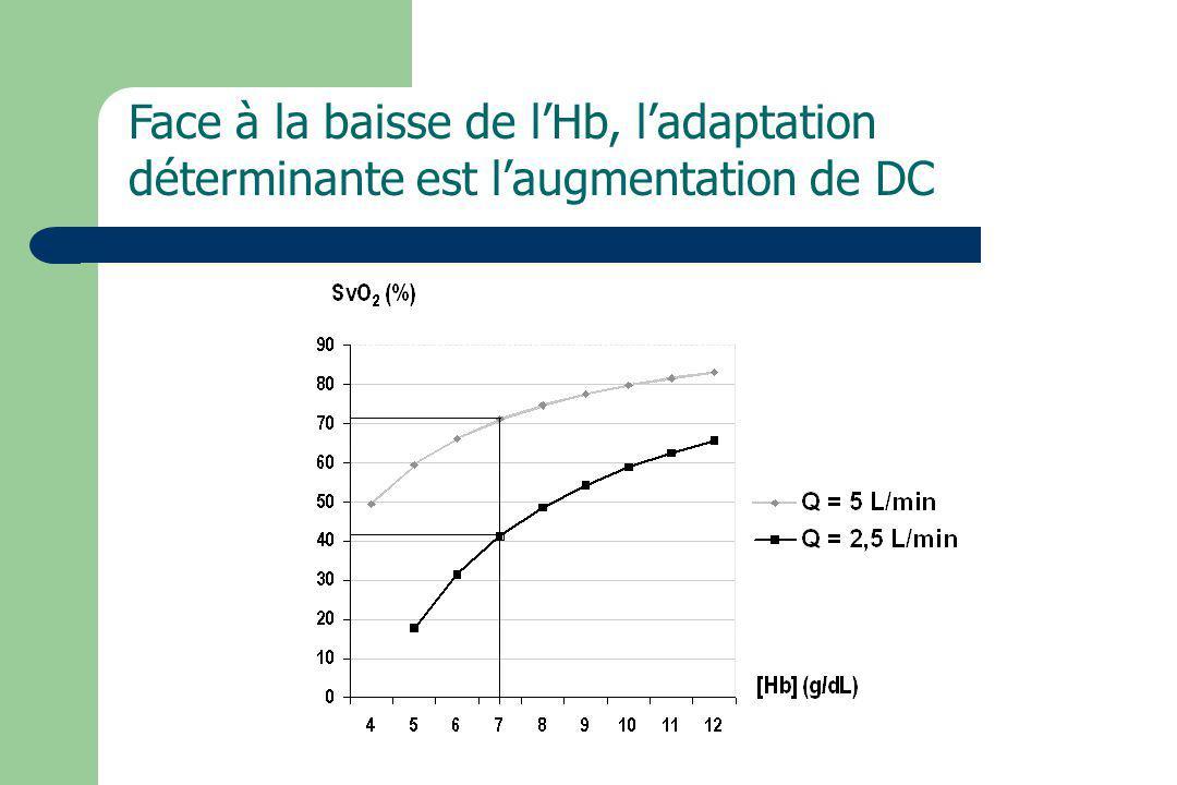 Face à la baisse de lHb, ladaptation déterminante est laugmentation de DC