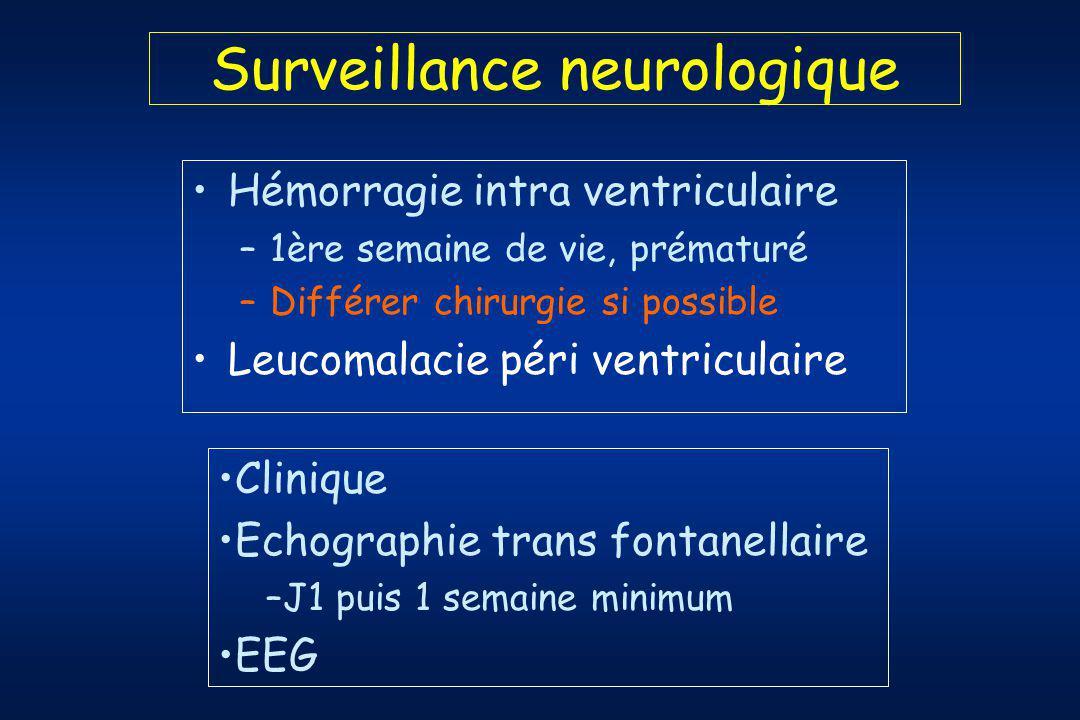 Surveillance neurologique Hémorragie intra ventriculaire –1ère semaine de vie, prématuré –Différer chirurgie si possible Leucomalacie péri ventriculaire Clinique Echographie trans fontanellaire –J1 puis 1 semaine minimum EEG