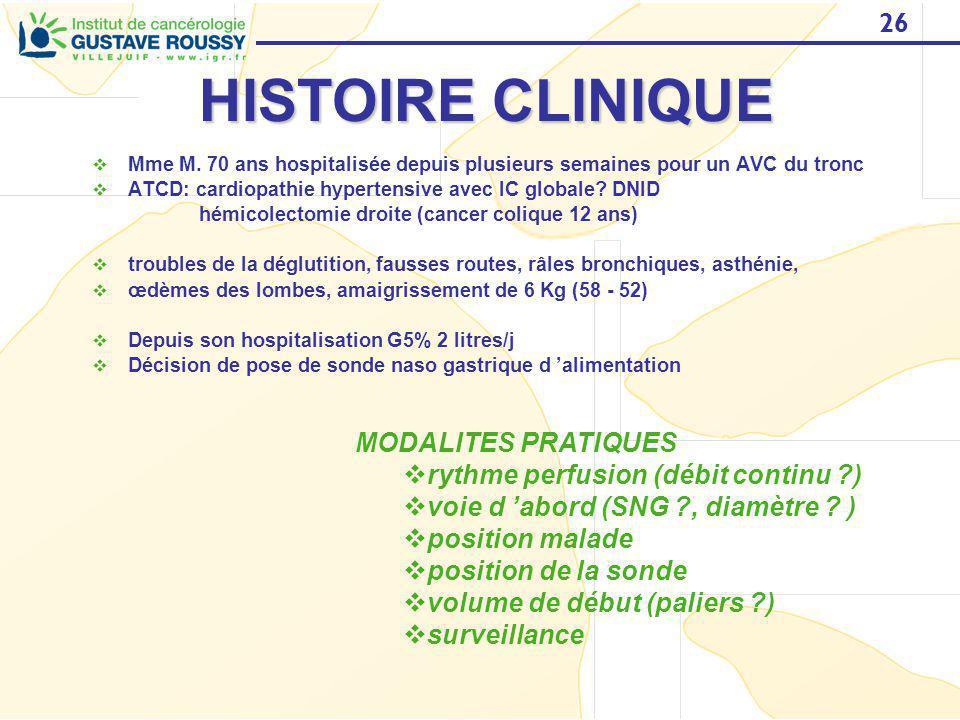 26 HISTOIRE CLINIQUE Mme M. 70 ans hospitalisée depuis plusieurs semaines pour un AVC du tronc ATCD: cardiopathie hypertensive avec IC globale? DNID h