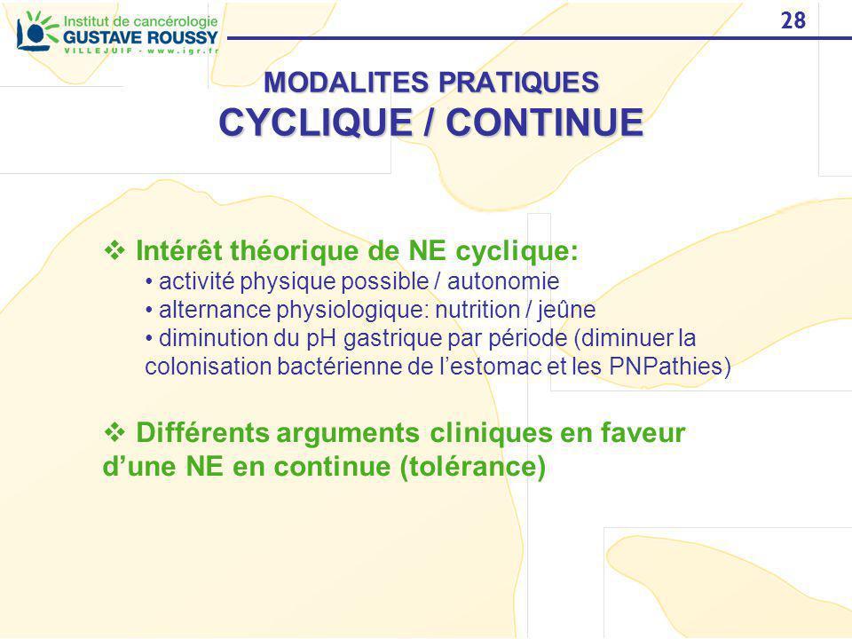 28 MODALITES PRATIQUES CYCLIQUE / CONTINUE Intérêt théorique de NE cyclique: activité physique possible / autonomie alternance physiologique: nutritio