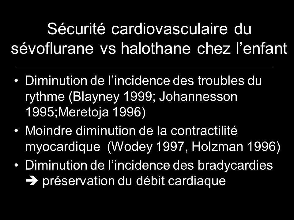 Sécurité cardiovasculaire du sévoflurane vs halothane chez lenfant Diminution de lincidence des troubles du rythme (Blayney 1999; Johannesson 1995;Mer