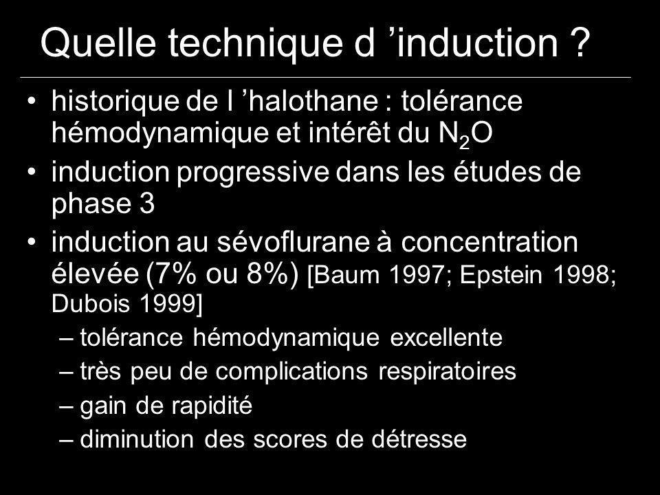 historique de l halothane : tolérance hémodynamique et intérêt du N 2 O induction progressive dans les études de phase 3 induction au sévoflurane à co