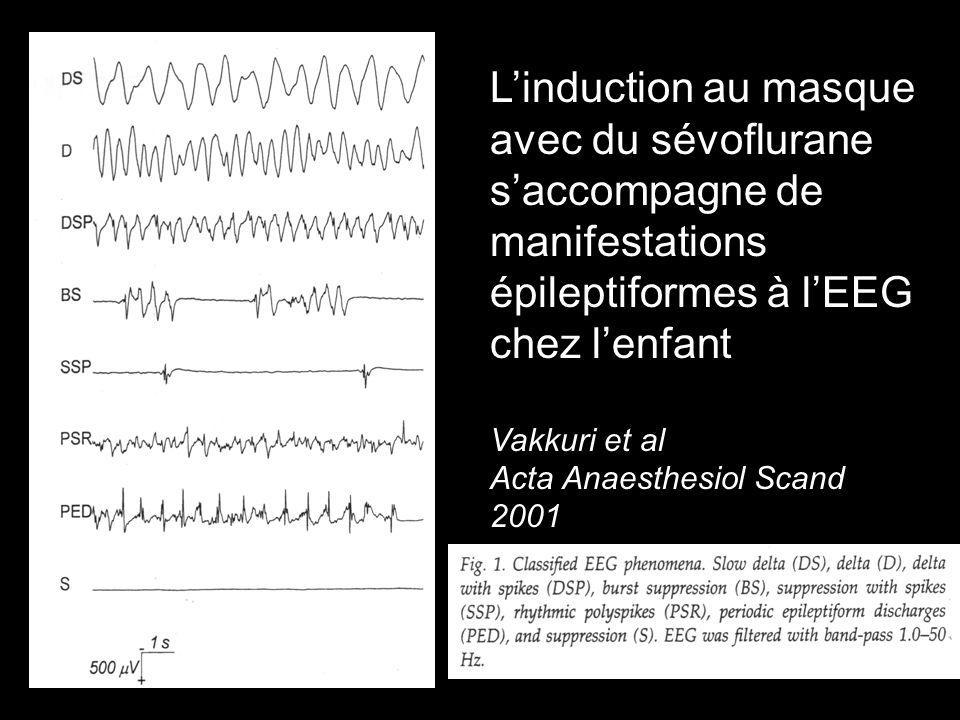 Linduction au masque avec du sévoflurane saccompagne de manifestations épileptiformes à lEEG chez lenfant Vakkuri et al Acta Anaesthesiol Scand 2001