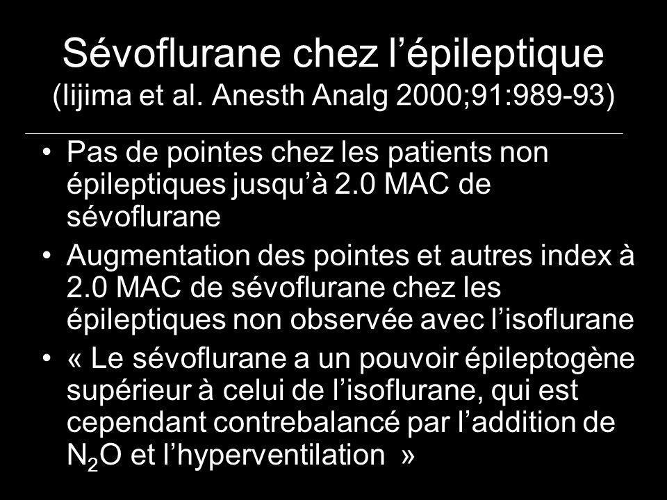 Sévoflurane chez lépileptique (Iijima et al. Anesth Analg 2000;91:989-93) Pas de pointes chez les patients non épileptiques jusquà 2.0 MAC de sévoflur