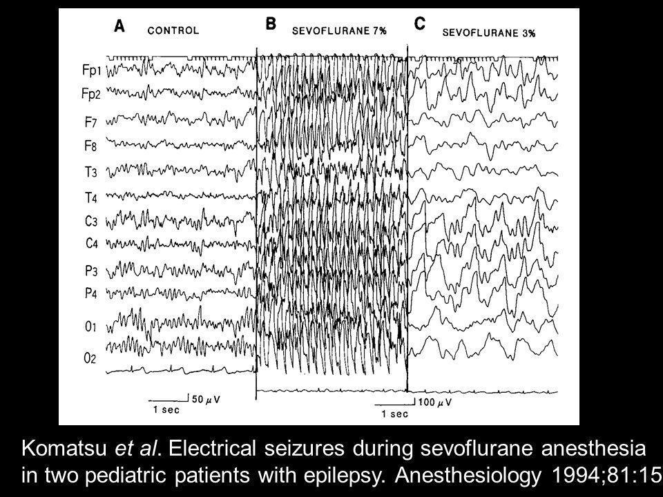 Komatsu et al. Electrical seizures during sevoflurane anesthesia in two pediatric patients with epilepsy. Anesthesiology 1994;81:1535-37