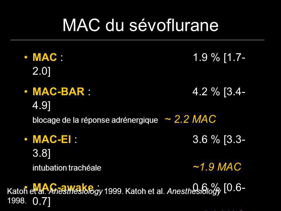 MAC du sévoflurane MAC : 1.9 % [1.7- 2.0] MAC-BAR : 4.2 % [3.4- 4.9] blocage de la réponse adrénergique ~ 2.2 MAC MAC-EI :3.6 % [3.3- 3.8] intubation