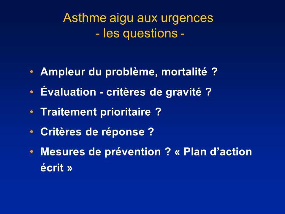 Asthme aigu aux urgences - les questions - Ampleur du problème, mortalité ? Évaluation - critères de gravité ? Traitement prioritaire ? Critères de ré