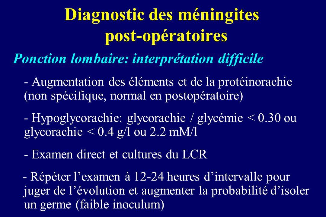 Diagnostic des méningites post-opératoires Ponction lombaire: interprétation difficile - Augmentation des éléments et de la protéinorachie (non spécif