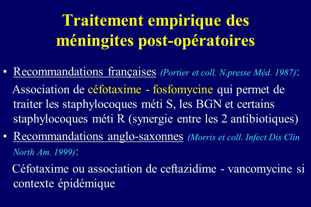 Recommandations françaises (Portier et coll. N.presse Méd. 1987) : Association de céfotaxime - fosfomycine qui permet de traiter les staphylocoques mé