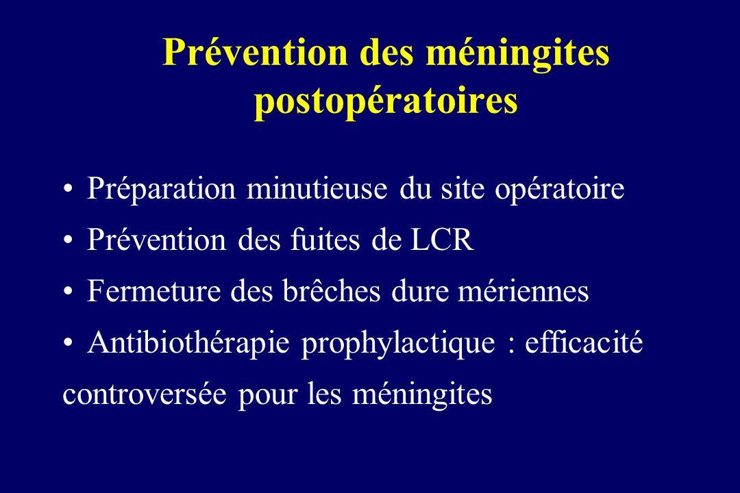 Prévention des méningites postopératoires Préparation minutieuse du site opératoire Prévention des fuites de LCR Fermeture des brêches dure mériennes