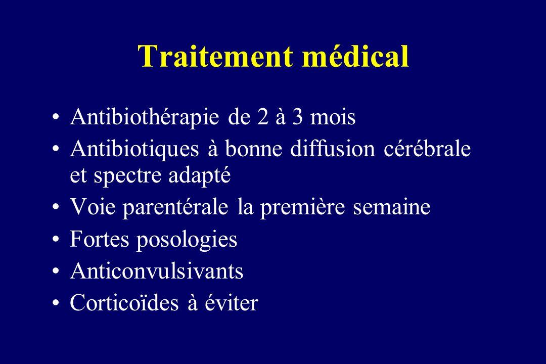Traitement médical Antibiothérapie de 2 à 3 mois Antibiotiques à bonne diffusion cérébrale et spectre adapté Voie parentérale la première semaine Fort