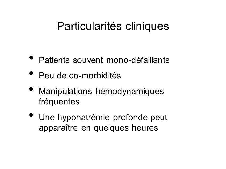Particularités cliniques Patients souvent mono-défaillants Peu de co-morbidités Manipulations hémodynamiques fréquentes Une hyponatrémie profonde peut