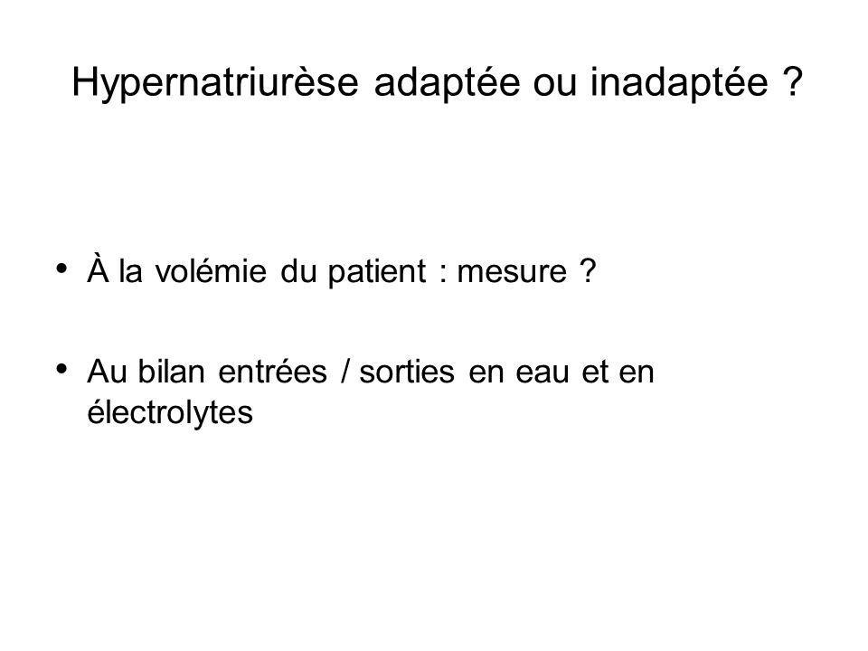 Hypernatriurèse adaptée ou inadaptée ? À la volémie du patient : mesure ? Au bilan entrées / sorties en eau et en électrolytes