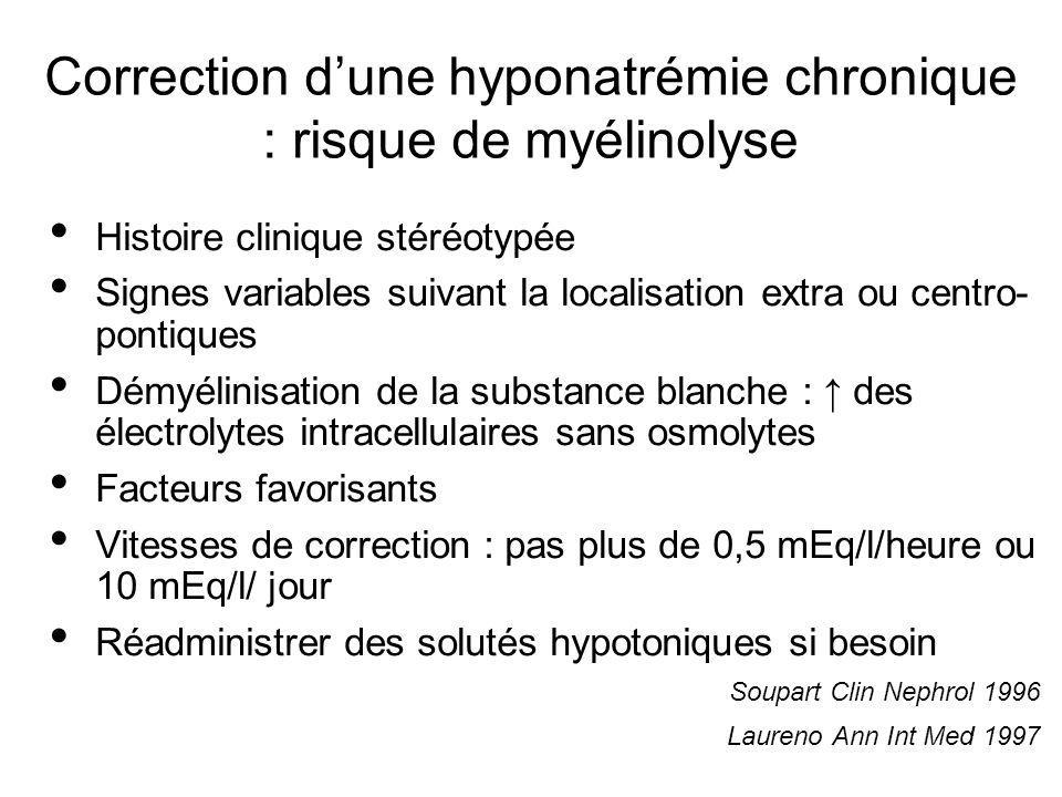 Correction dune hyponatrémie chronique : risque de myélinolyse Histoire clinique stéréotypée Signes variables suivant la localisation extra ou centro-