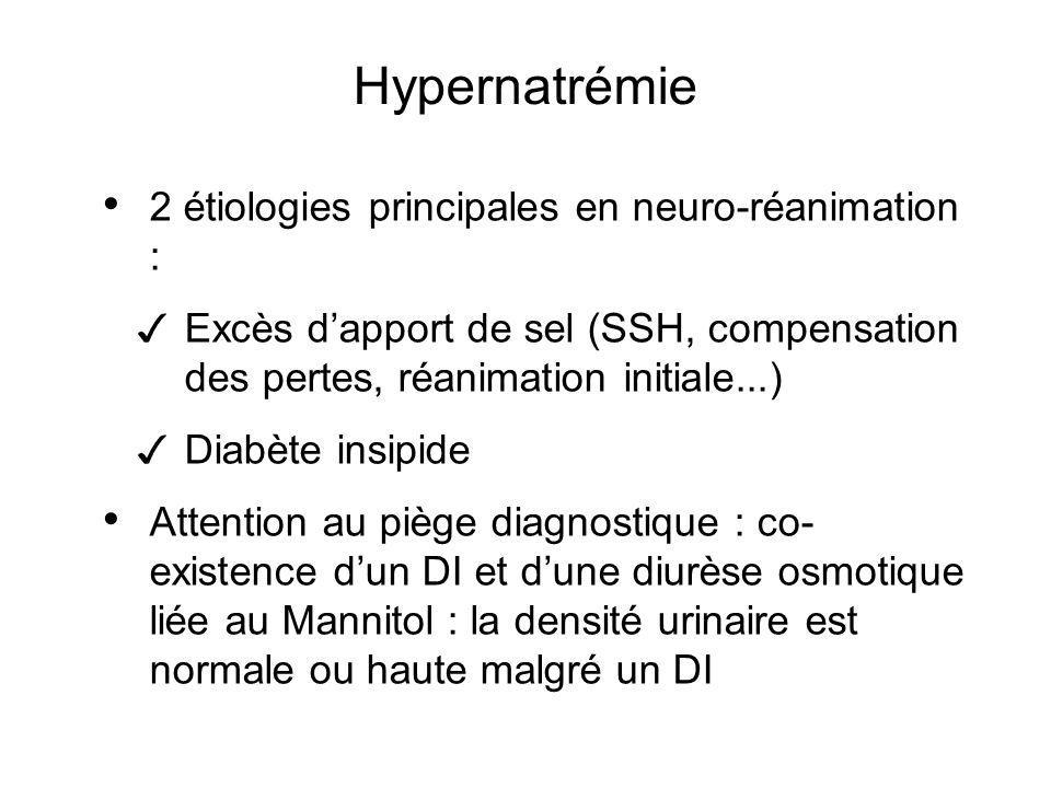 Hypernatrémie 2 étiologies principales en neuro-réanimation : Excès dapport de sel (SSH, compensation des pertes, réanimation initiale...) Diabète ins
