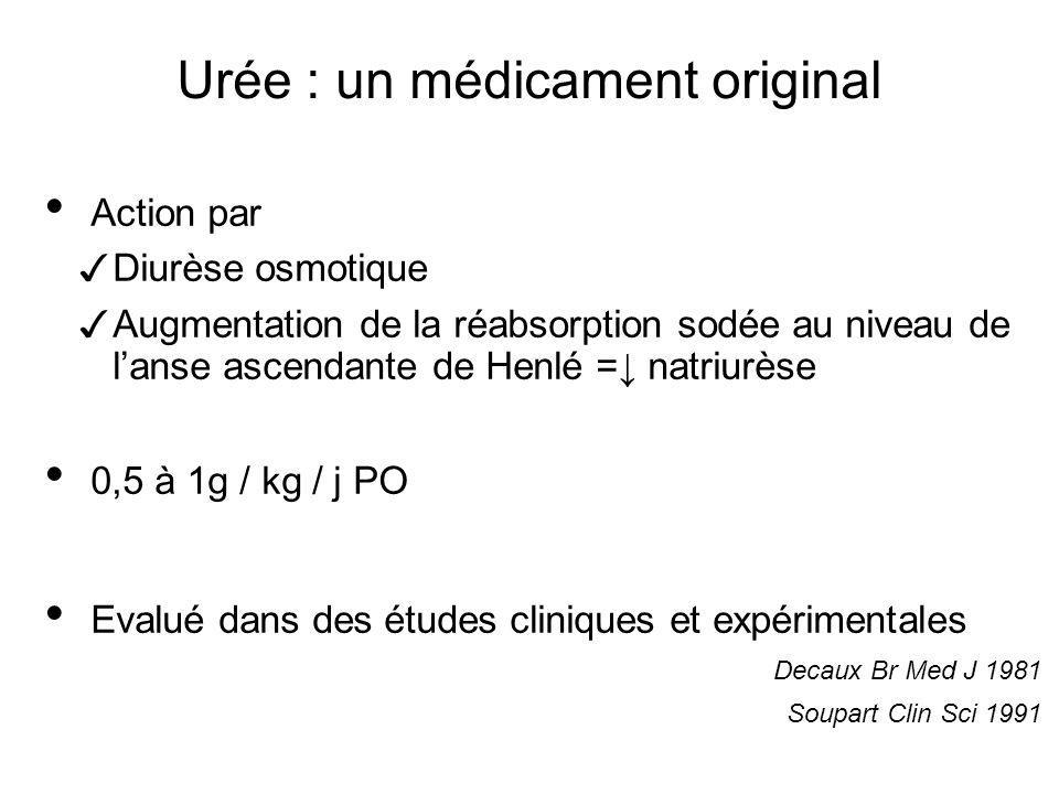 Urée : un médicament original Action par Diurèse osmotique Augmentation de la réabsorption sodée au niveau de lanse ascendante de Henlé = natriurèse 0