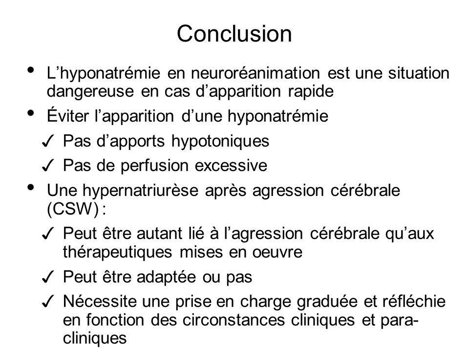 Conclusion Lhyponatrémie en neuroréanimation est une situation dangereuse en cas dapparition rapide Éviter lapparition dune hyponatrémie Pas dapports