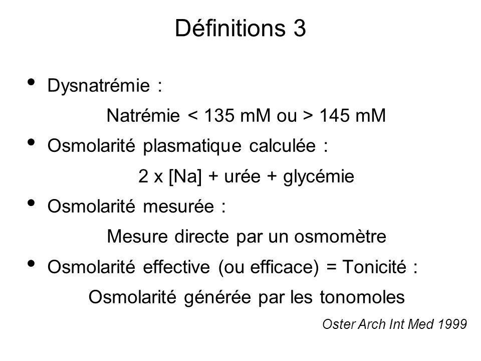 Définitions 3 Dysnatrémie : Natrémie 145 mM Osmolarité plasmatique calculée : 2 x [Na] + urée + glycémie Osmolarité mesurée : Mesure directe par un os