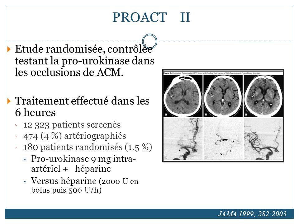 Etude randomisée, contrôlée testant la pro-urokinase dans les occlusions de ACM.