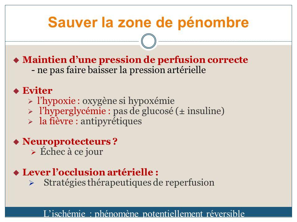 Sauver la zone de pénombre Maintien dune pression de perfusion correcte - ne pas faire baisser la pression artérielle Eviter lhypoxie : oxygène si hypoxémie lhyperglycémie : pas de glucosé (± insuline) la fièvre : antipyrétiques Neuroprotecteurs .