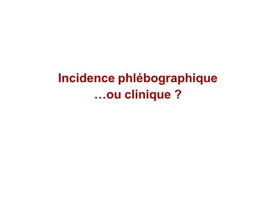 Incidence phlébographique …ou clinique ?
