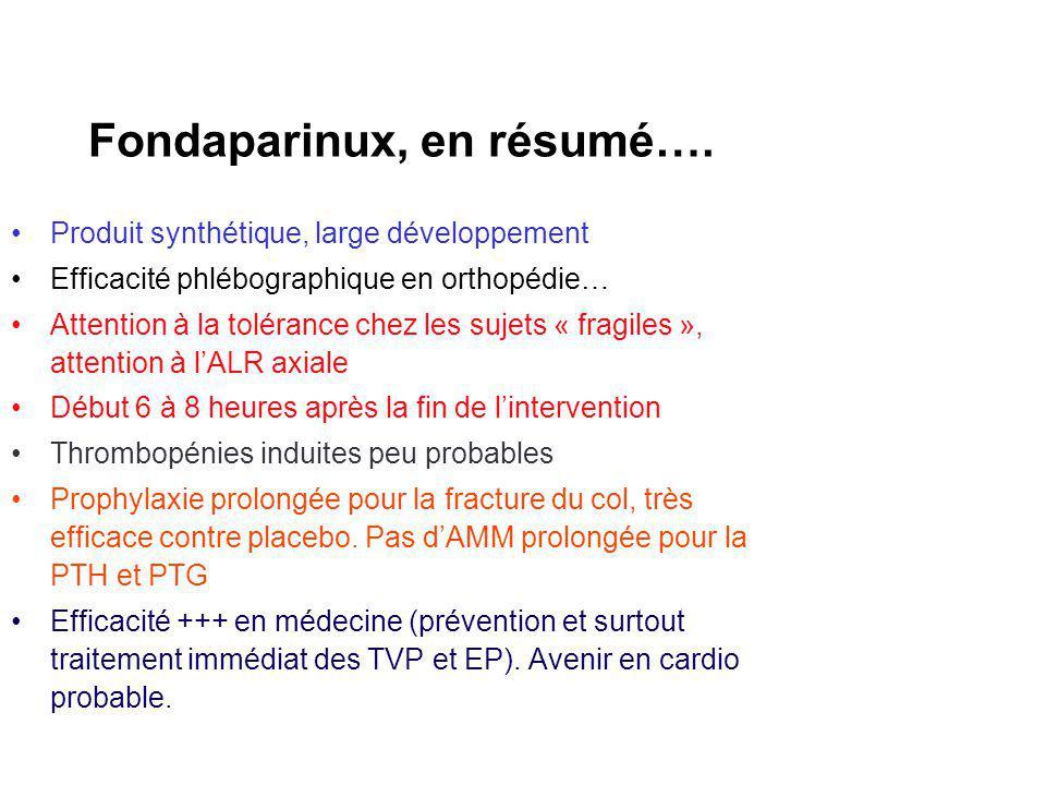 Fondaparinux, en résumé…. Produit synthétique, large développement Efficacité phlébographique en orthopédie… Attention à la tolérance chez les sujets