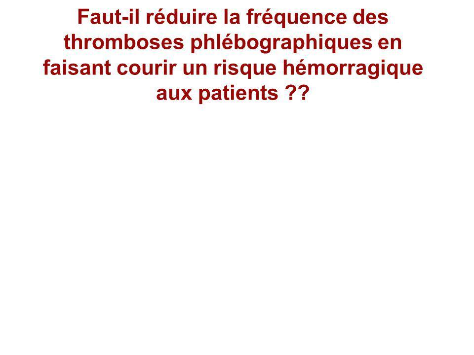 Faut-il réduire la fréquence des thromboses phlébographiques en faisant courir un risque hémorragique aux patients ??