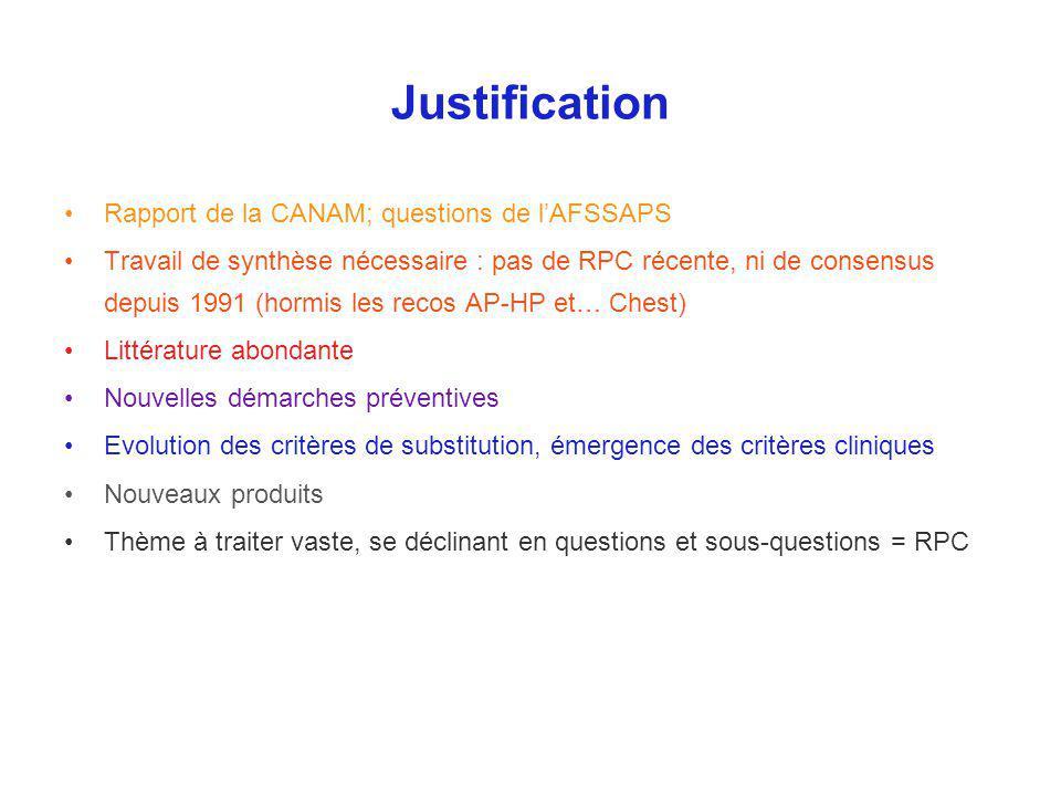 Justification Rapport de la CANAM; questions de lAFSSAPS Travail de synthèse nécessaire : pas de RPC récente, ni de consensus depuis 1991 (hormis les