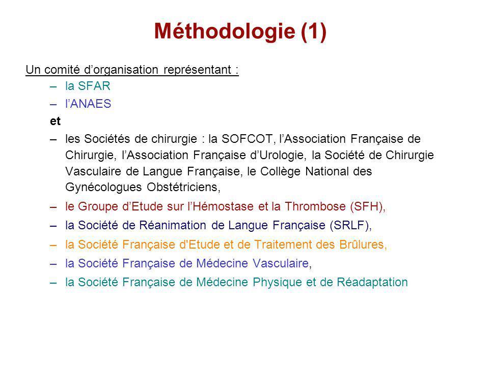 Méthodologie (1) Un comité dorganisation représentant : –la SFAR –lANAES et –les Sociétés de chirurgie : la SOFCOT, lAssociation Française de Chirurgi