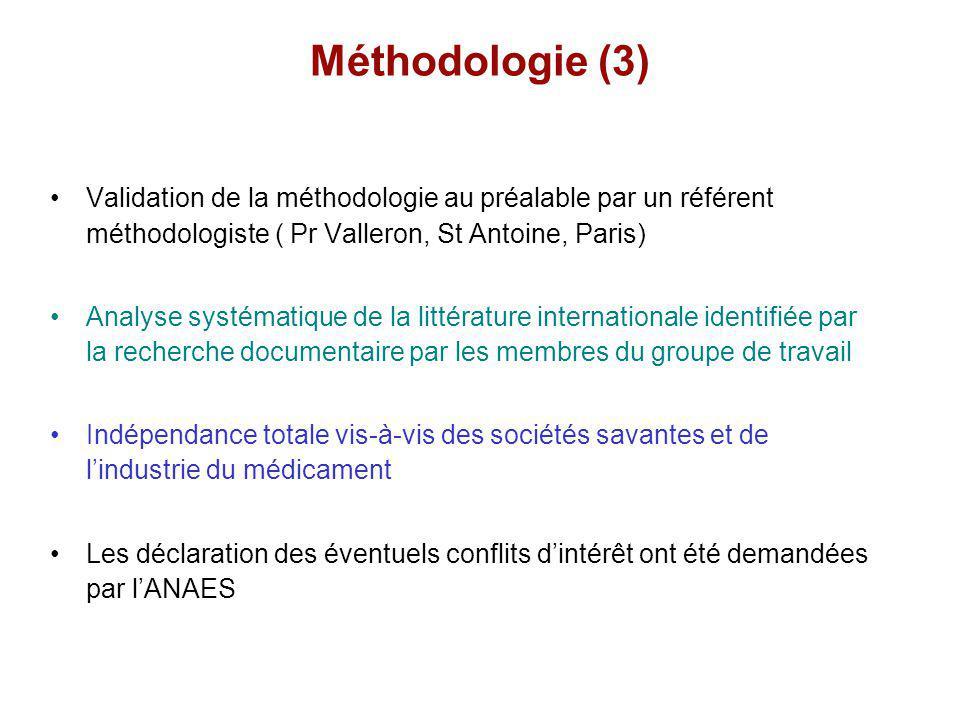 Méthodologie (3) Validation de la méthodologie au préalable par un référent méthodologiste ( Pr Valleron, St Antoine, Paris) Analyse systématique de l