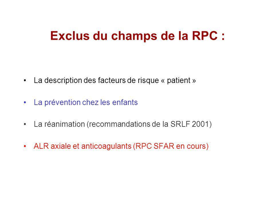Exclus du champs de la RPC : La description des facteurs de risque « patient » La prévention chez les enfants La réanimation (recommandations de la SRLF 2001) ALR axiale et anticoagulants (RPC SFAR en cours)